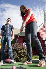 """USA, Utah, Orem, Couple playing golf"""