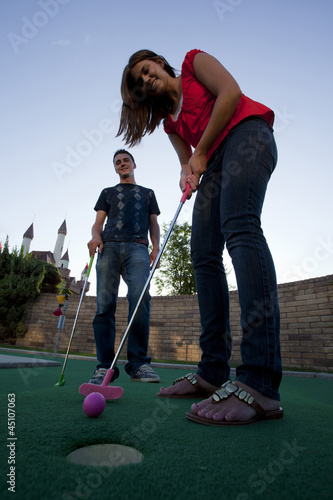 """USA, Utah, Orem, Low angle view of playing golf"""