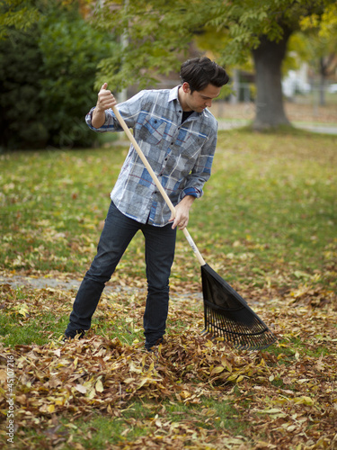 """USA, Utah, Provo, Young man raking leaves in garden"""