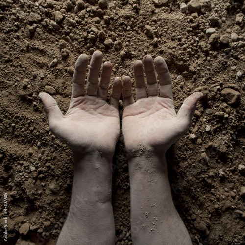 Studio shot of man's hands on dirt