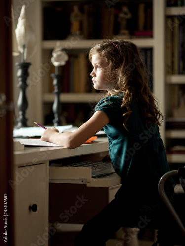 """USA, Utah, Cedar Hills, Girl (8-9) doing homework in library"""