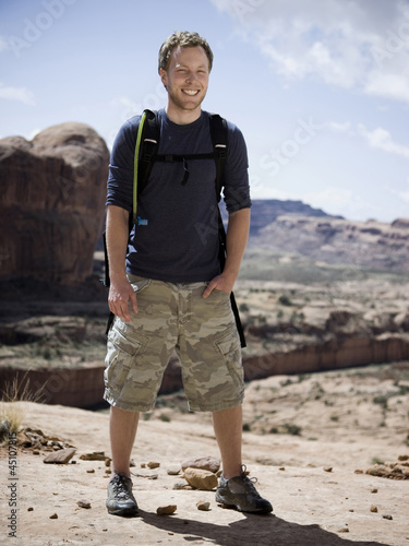 man on a hiking trip in the desert