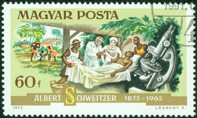 stamp printed in the Hungary shows Dr. Albert Schweitzer