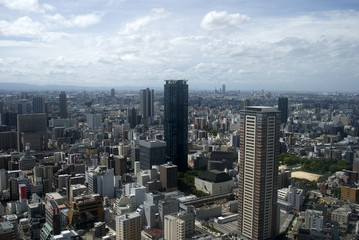 Aerial view of the city, Osaka, Japan