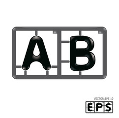 Letter ab model-kit alphabet vector
