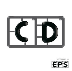 Letter cd model-kit alphabet vector