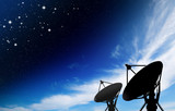 satellite dish antennas under star with galaxy Space