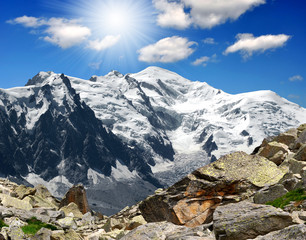 view of the mountains Mont Blanc-France