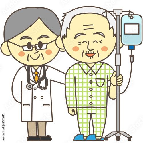 入院患者と医者