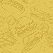 seamless wallpaper with hamburger, hot dogs, sandwiches