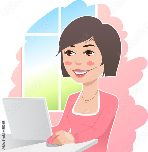 woman in a pink sweater at work