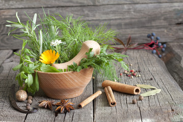 Herbs and spices in mortar on wooden boards