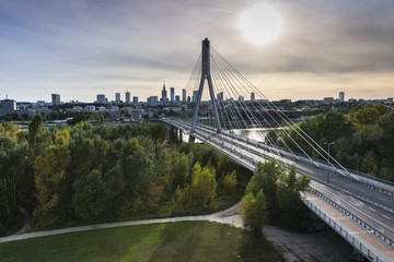 Panorama of Warsaw in Poland