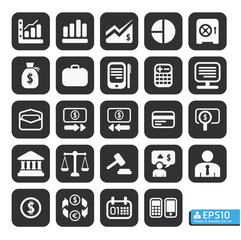 Finance and business vector icon set in black color button frame