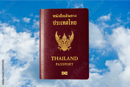 Stock Photo:.hand and passport isolated white.
