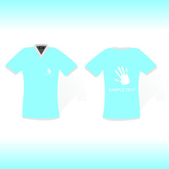 blue t-shirt with hand sign design
