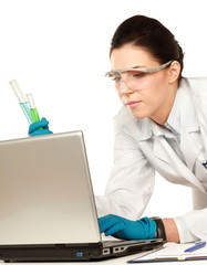 A medical or scientific  or doctor looking at a test tube