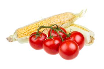 ripe yellow corn and tomato