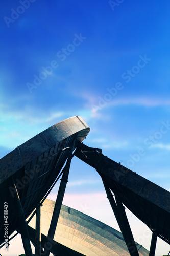 radar dishes blue sky