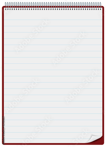 Notepad or clipboard with ruled pages and spiral bound