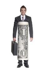Exitoso hombre de negocios vestido de billete de dólar.