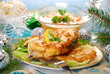 deep-fried carp with almonds  on christmas table