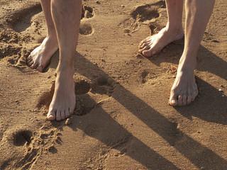 Pisando en la arena