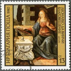 "BULGARIA -1980: shows ""Annunciation"" by Leonardo da Vinci"