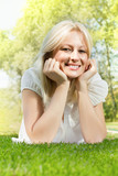 happiness smiling blonde woman relaxing