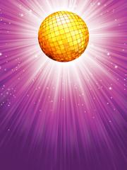 Purple disco rays with stars. EPS 8