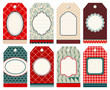 8 Retro Christmas Hangtags Red/Green/Beige