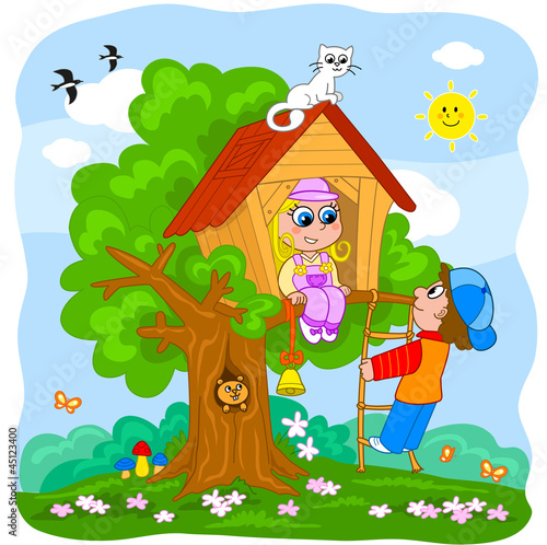Boy and girl playing in a tree house. Cartoon illustration