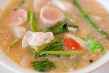 close up of Filipino pork sinigang