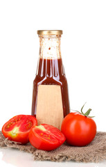Tomato sauce in bottle isolated on white