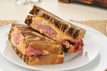Reuben sandwich on marbled rye bread