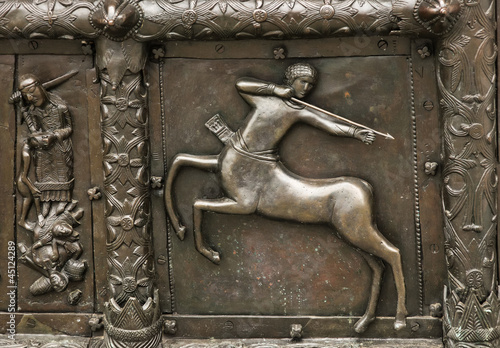 Reliefs on the gate of St. Sophia Cathedral (Novgorod, Kremlin)