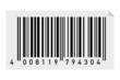 Barcode auf Etikette mit umgeklappte Ecke