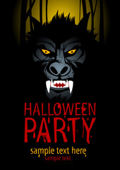 Halloween Party Design template with werewolf.