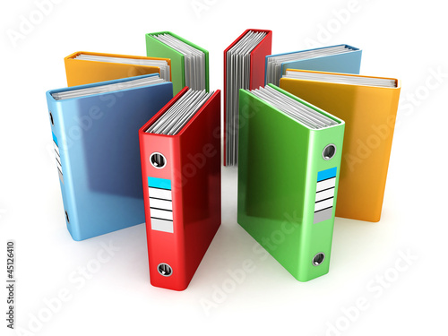 colored ring binders on white background