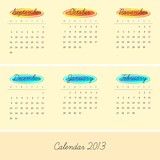 Calendar 2013. Autumn, winter (vector version)