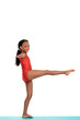 Young girl doing gymnastics balance move