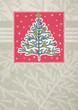 christmas trees  on red framed background, vector illustration