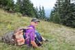 Pause tourists and downhill Carpathians.