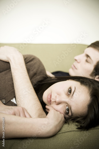 young couple on couch