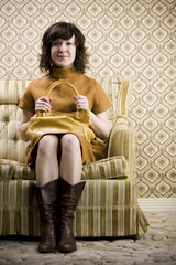 woman in a retro outfit