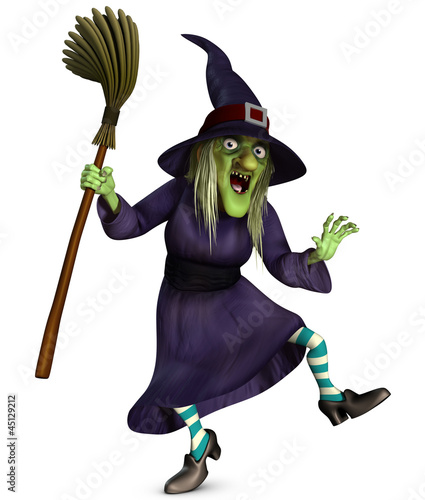 Deurstickers Sweet Monsters beldame with broom