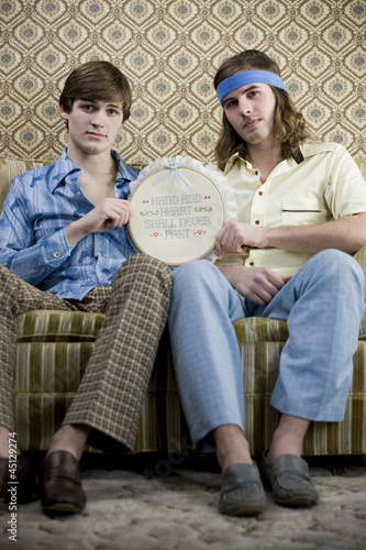 two men in retro clothing