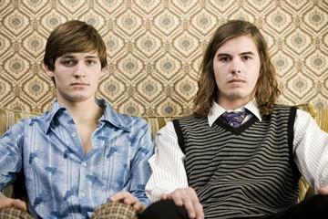 two men in retro clothing