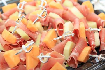 Melonen Schinken Spieße