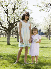 two girls in a blossoming orchard